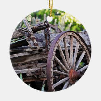 Southwestern Antique Wagon Wheel Cactus Double-Sided Ceramic Round Christmas Ornament