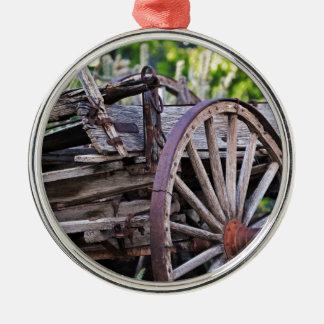 Southwestern Antique Wagon Wheel Cactus Round Metal Christmas Ornament