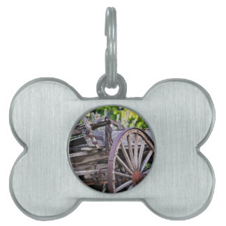 Southwestern Antique Wagon Wheel Cactus Pet ID Tag