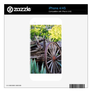 Southwestern Antique Wagon Wheel Cactus Skin For iPhone 4