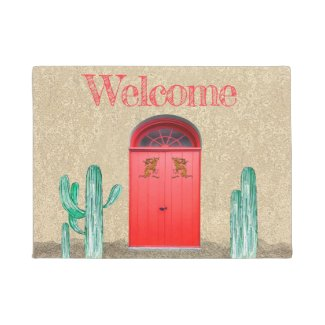 welcome, door mat, doormat, southwestern, cactus, gift, housewarming,