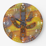 Southwestern Arizona Saguaro Cactus Mosaic Design Large Clock