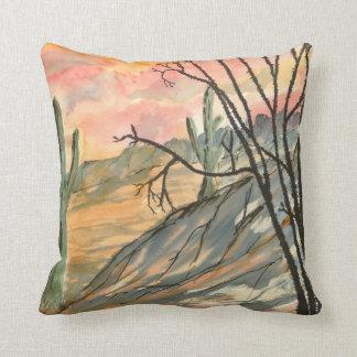 southwestern art arizona evening landscape throw pillow