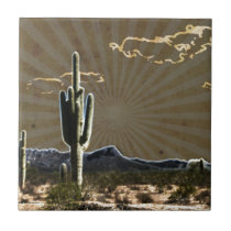 southwestern art Desert  succulent Saguaro Cactus Tile