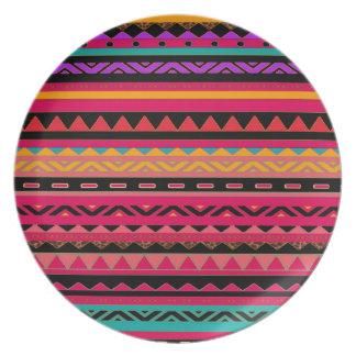 Southwestern Aztec Colorful Pattern Dinner Plate