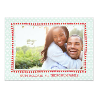 Southwestern Blanket Mint Red Holiday Photo Card