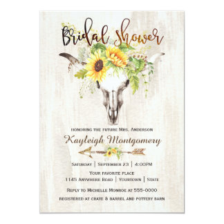 Southwestern Boho Sunflower Skull Bridal Shower Card