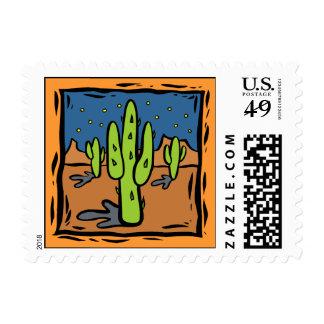 Southwestern Cactus Design Postage Stamp