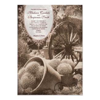 Southwestern Cactus Wagon Wheel Wedding Invitation Custom Invite