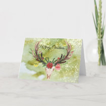 Southwestern Christmas Decorated Animal Skull Holiday Card