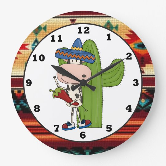 Southwestern Cow Kitchen cartoon clock