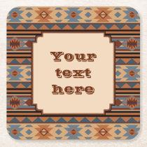 Southwestern Design Adobe Tan Gray Brown Square Paper Coaster