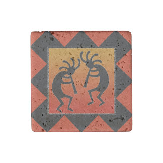 Southwestern Design Dancing Kokopelli Stone Magnet