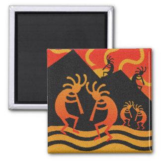 Southwestern Design Kokopelli Desert Sunset 2 Inch Square Magnet