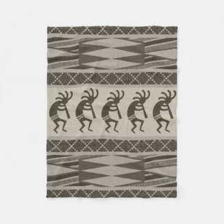 Southwestern Design Kokopelli Tribal Aztec Pattern Fleece Blanket