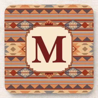 Southwestern Design Tan Monogram Coaster