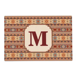 Southwestern Design Tan Monogram Placemat