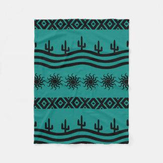 Southwestern Design Teal And Black Fleece Blanket