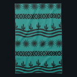 """Southwestern Design Teal And Black Kitchen Towels<br><div class=""""desc"""">Features a black and teal southwest design. For more southwest decor visit the rest of this shop!</div>"""