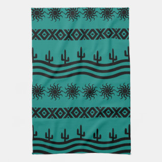 Southwestern Design Teal And Black Kitchen Towels at Zazzle