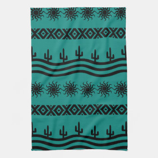 Southwestern Design Teal And Black Kitchen Towels