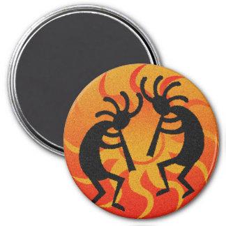 Southwestern Design Tribal Sun Kokopelli 3 Inch Round Magnet