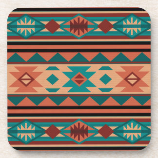 Southwestern Design Turquoise Terracotta Beverage Coaster