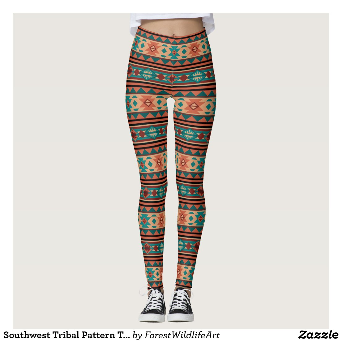 Southwestern Design Turquoise Terracotta Leggings
