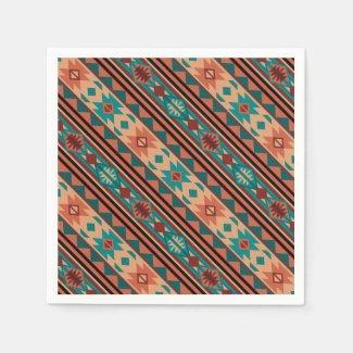 Southwestern Design Turquoise Terracotta Standard Cocktail Napkin