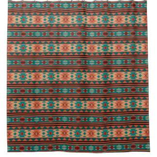 Southwestern Design Turquoise Terracotta Shower Curtain