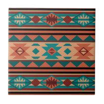 Southwestern Design Turquoise Terracotta Tile