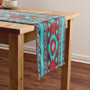 Southwestern Ethnic Geometric Pattern Short Table Runner