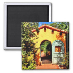 Southwestern Garden Arched Door Square Magnet