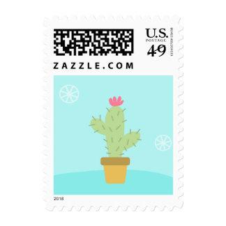 Southwestern Green Cactus Dessert Pink & Blue Postage