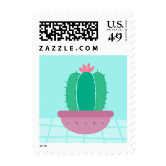 Southwestern Green Cactus Dessert Pink Floral Blue Postage