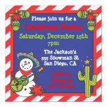 Southwestern Mexican Snowman Feliz Navidad Invitation