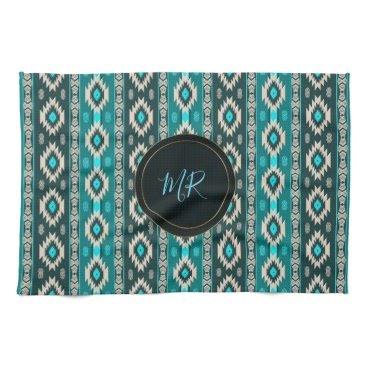 Aztec Themed Southwestern navajo ethnic  pattern. Monogram. Kitchen Towel