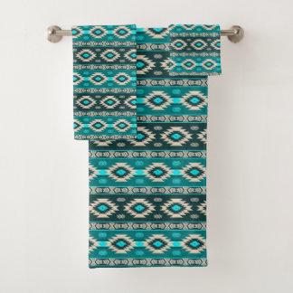 Southwestern navajo ethnic tribal pattern. bath towel set