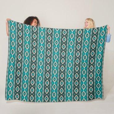 Aztec Themed Southwestern navajo ethnic tribal pattern. fleece blanket