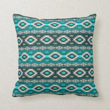 Aztec Themed Southwestern navajo ethnic tribal pattern. throw pillow