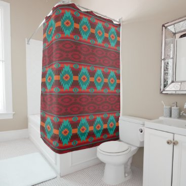 Southwestern navajo geometric pattern. shower curtain