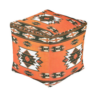 Southwestern pattern cube pouf seat