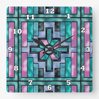Southwestern pattern faux stained glass clock
