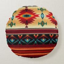 Southwestern pattern fun round throw pillow