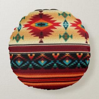 Southwestern Pattern Fun Round Throw Pillow at Zazzle