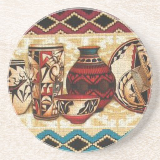 Southwestern pattern sandstone drink coaster zazzle - Sandstone drink coasters ...