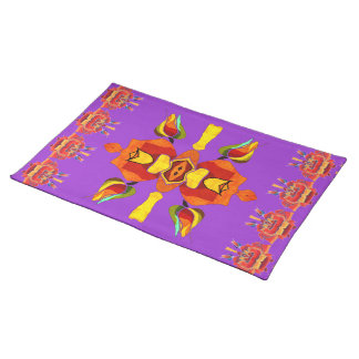 southwestern rose design place setting purple placemat