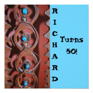 SOUTHWESTERN  RUSTED METAL W TURQUOISE INVITATION