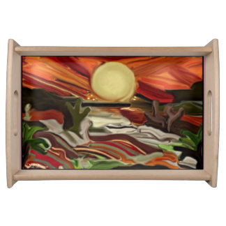 Southwestern Skies Abstract Art Serving Tray