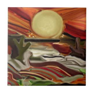 Southwestern Skies Abstract Art Tile
